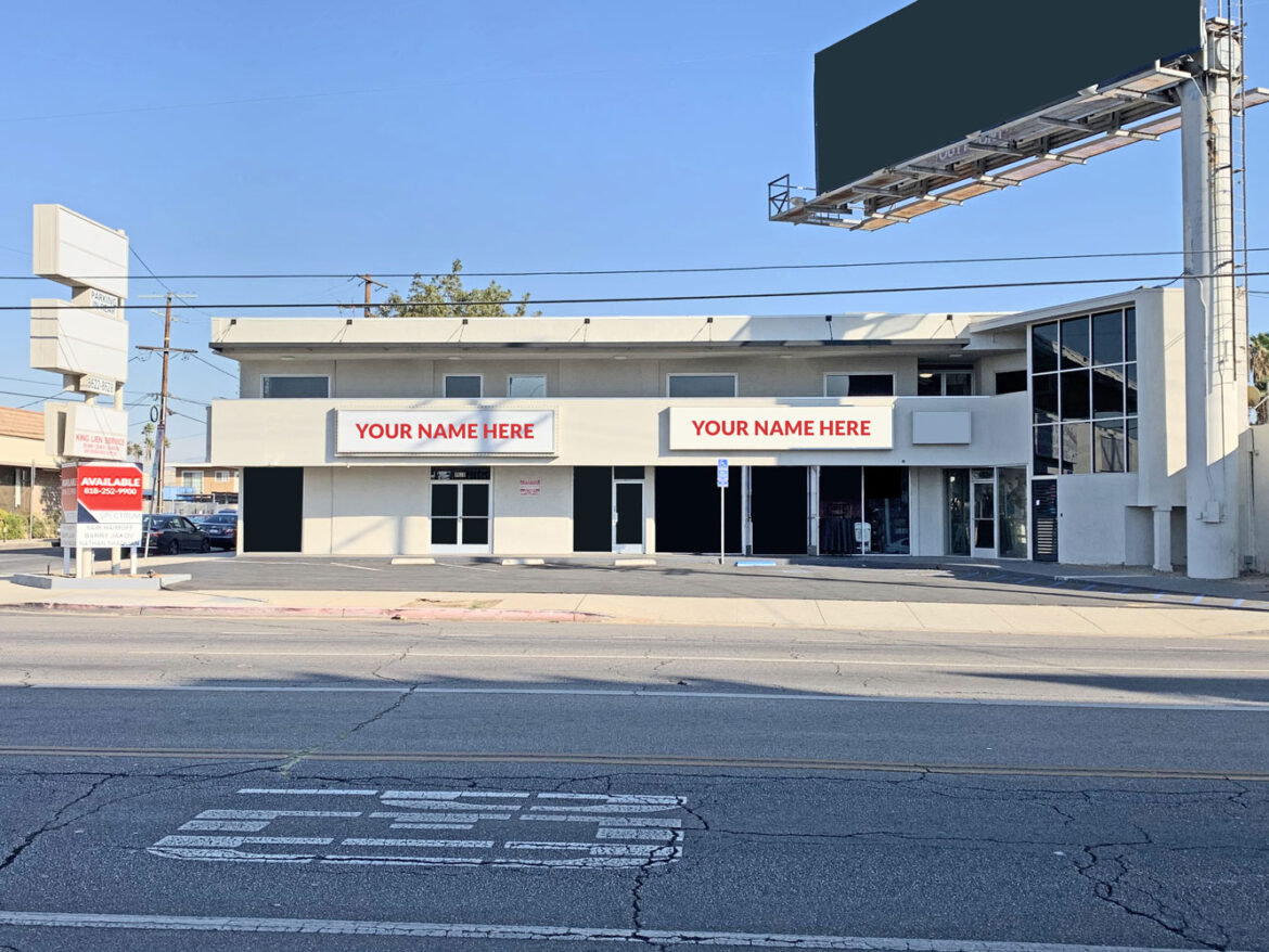 two-story commercial building located in Northridge, CA